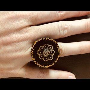 Handpainted flower mandala Ring